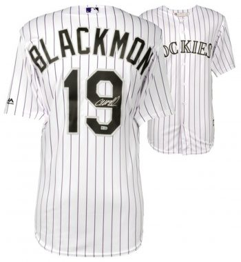 Charlie Blackmon playera firmada de Colorado Rockies