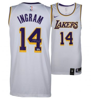 Brandon Ingram de Los Angeles Lakers playera firmada blanca