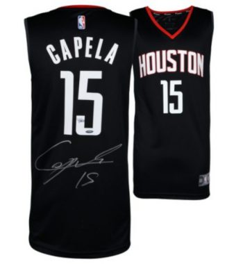 Clint Capela de Houston Rockets playera firmada negra