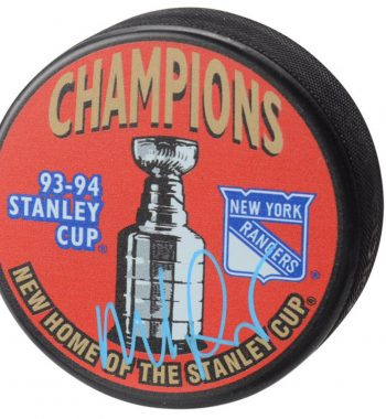 Mike Richter de los New York Rangers puck firmado