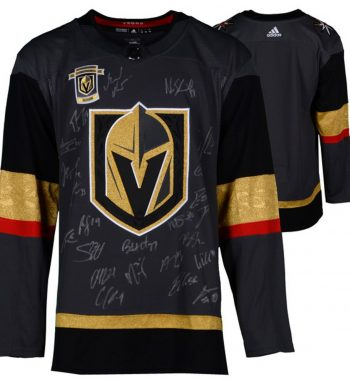 Vegas Golden Knights 2018 Western Conference Champions con 15 firmas negra playera firmada