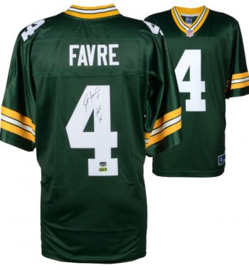"Brett Favre Green Bay Packers playera verde firmada con inscripción ""HOF 16"""