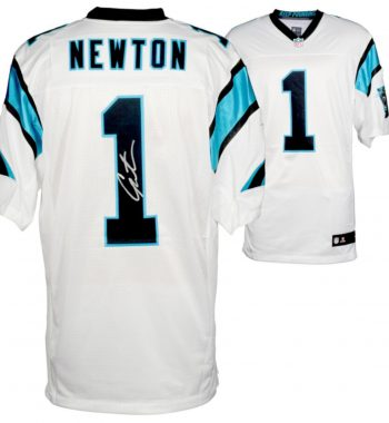 Cam Newton Carolina Panthers playera blanca firmada