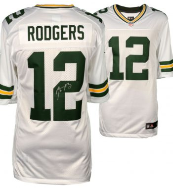 Aaron Rodgers Green Bay Packers playera blanca firmada