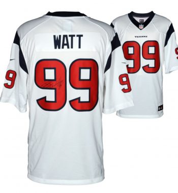 J.J. Watt Houston Texans playera blanca firmada